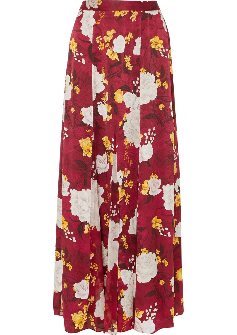 Alice + Olivia Athena Floral-print Hammered Silk-satin Maxi Skirt
