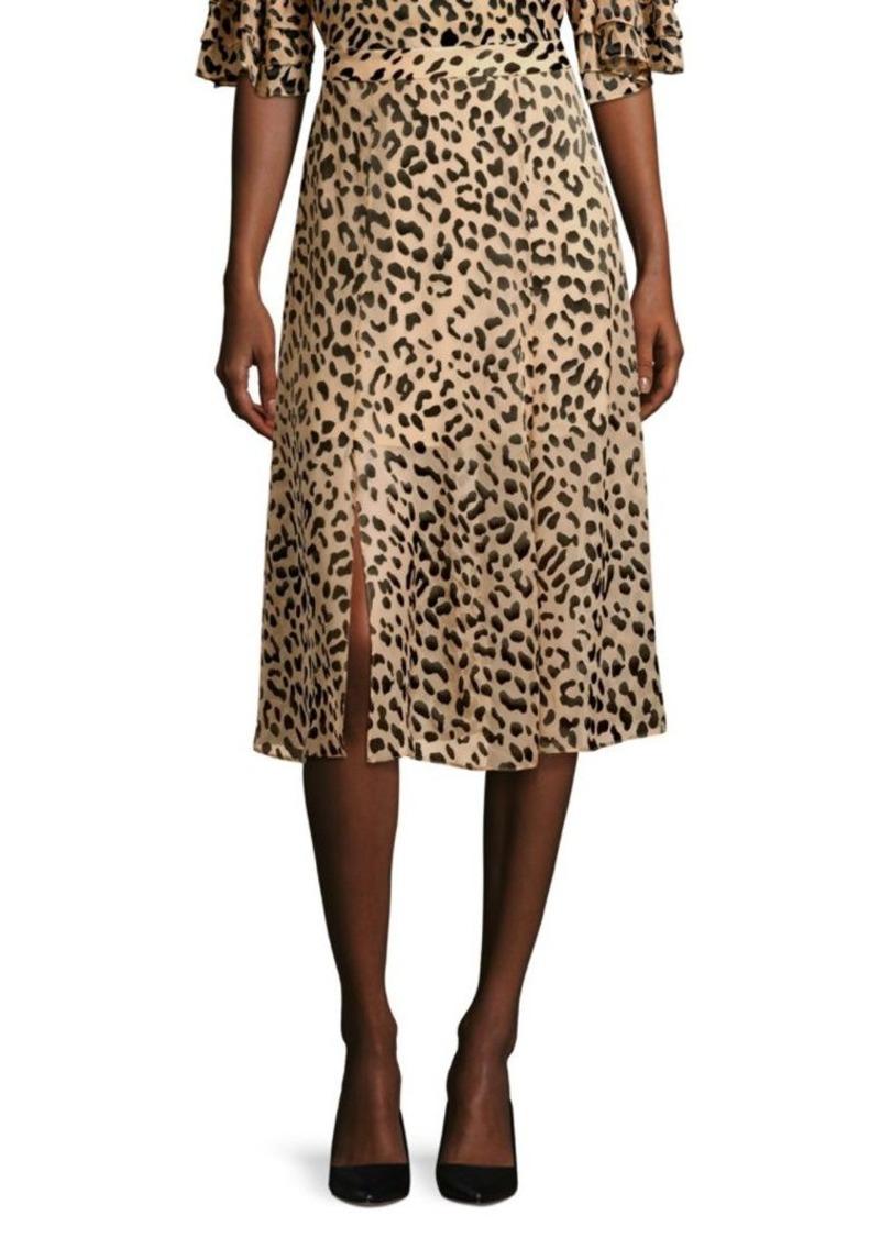 Alice + Olivia Athena Leopard Midi Skirt