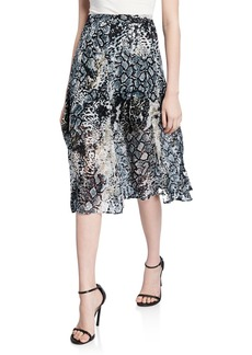 Alice + Olivia Athena Midi Skirt with Slits