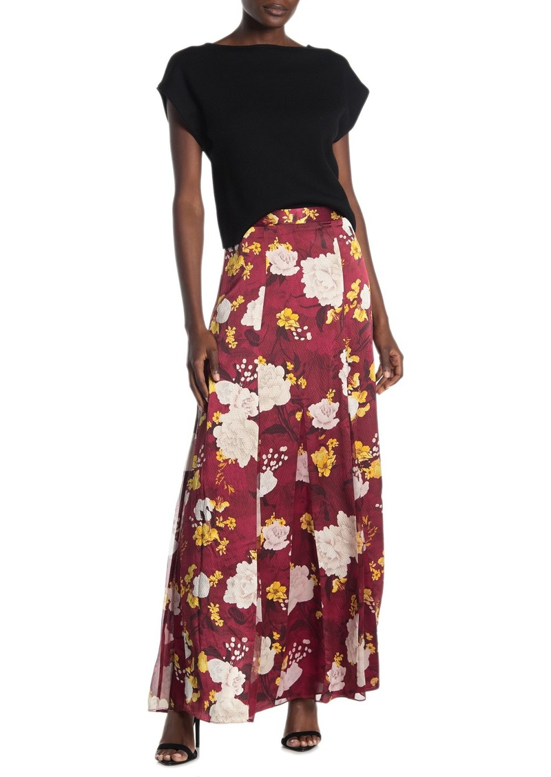 Alice + Olivia Athena Floral Pleated Silk Maxi Skirt