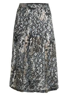 Alice + Olivia Athena Python-Print Stretch Silk A-Line Midi Skirt