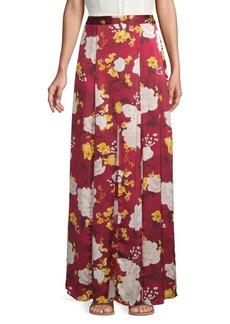 Alice + Olivia Athena Silk Floral Godet Long Skirt