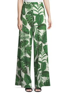 Alice + Olivia Athena Super Flared Palm-Leaf Print Pants