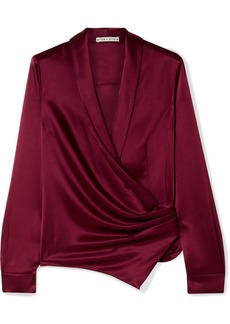 Alice + Olivia Aurora Gathered Satin Wrap Blouse