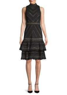 Alice + Olivia Azita Fit-&-Flare Lace Dress