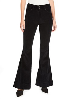 Alice + Olivia Beautiful Double-Waistband Corduroy Bell Jeans