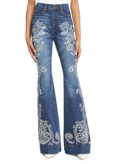 Alice + Olivia Beautiful Embellished High-Rise Bell-Bottom Jeans