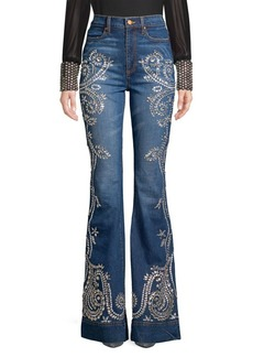 Alice + Olivia Beautiful High-Rise Embellished Flared Jeans