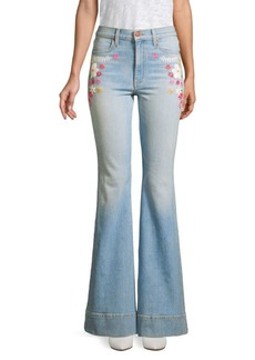 Alice + Olivia Beautiful High-Rise Flare Embroidered Floral Jeans