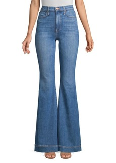 Alice + Olivia Beautiful High-Rise Unfinished, Split & Frayed Hem Flared Jeans
