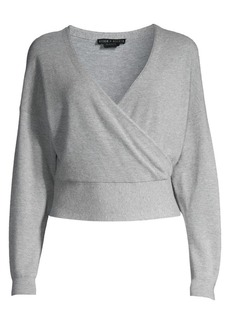 Alice + Olivia Bedelle Surplice Cashmere-Blend Sweater