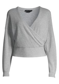 Alice + Olivia Bedelle Surplice Cashmere-Blend Sweater