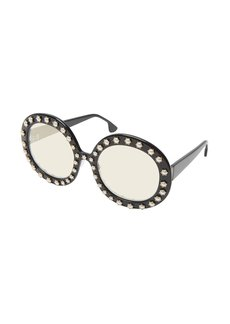 Alice + Olivia Bel Air Round Pearlescent-Trim Sunglasses
