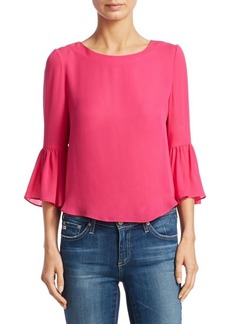 Alice + Olivia Bernice Silk Bell Sleeve Top