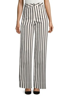 Alice + Olivia Beta Super High-Rise Striped Wide-Leg Jeans