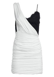 Alice + Olivia Bianca Ruched One-Shoulder Stretch Silk Mini Dress