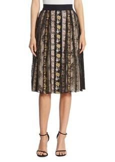 Alice + Olivia Birdie Embroidered Mid-Length Full Skirt