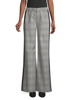 Alice + Olivia Bo Side Striped Wide Leg Plaid Trousers