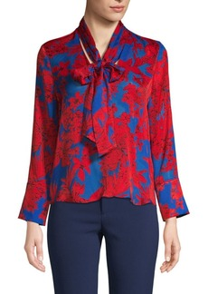 Alice + Olivia Botanical-Print Tie-Neck Top