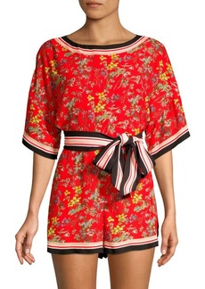Alice + Olivia Bowie Striped Trim Floral Romper