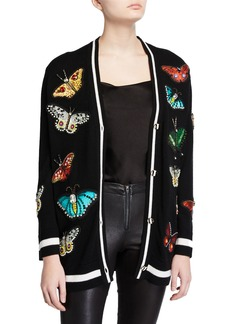 Alice + Olivia Bradford Butterfly-Embroidered Grandpa Cardigan