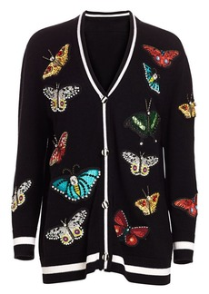 Alice + Olivia Bradford Butterfly-Embroidered Wool-Blend Cardigan