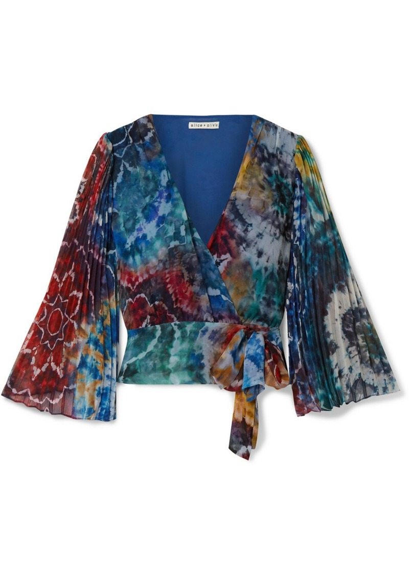 Alice + Olivia Bray Pleated Tie-dyed Silk-georgette Wrap Blouse