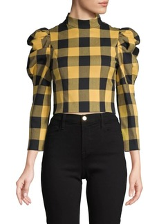 Alice + Olivia Brenna Puffed-Sleeve Check Top