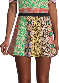 Alice + Olivia Bunnie Patchwork Stripe Mini Skirt