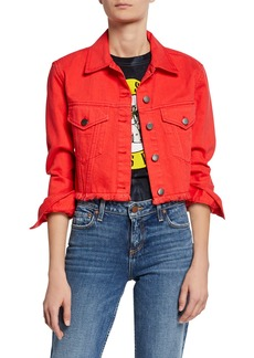 Alice + Olivia Button-Front Boxy Cropped Denim Jacket