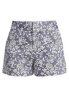 Alice + Olivia Cady High-Waist Printed Chambray Shorts