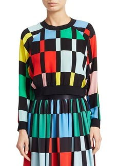 Alice + Olivia Calvin Checker Cropped Sweatshirt