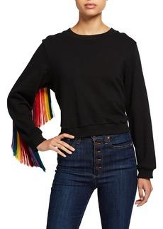 Alice + Olivia Calvin Fringe-Sleeve Sweater