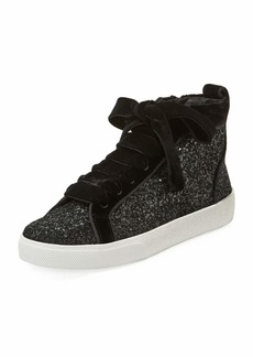 Alice + Olivia Camil Glitter and Velvet Mid-Top Sneakers