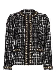 Alice + Olivia Carmen Embellished Tweed Blazer