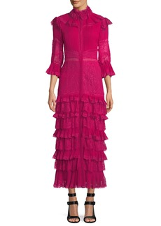 Alice + Olivia Carmina Pleated Lace Ruffle Midi Dress
