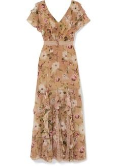 Alice + Olivia Cassidy Ruffled Silk-georgette Maxi Dress