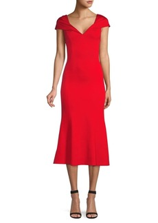 Alice + Olivia Cecilia Drape-Shoulder Midi Dress