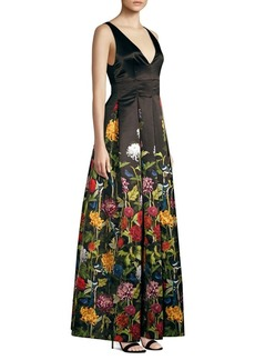 Alice + Olivia Chantal Floral Satin Pleated A-Line Gown