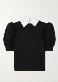 Alice + Olivia Chase Cotton Poplin-trimmed Stretch-wool Sweater