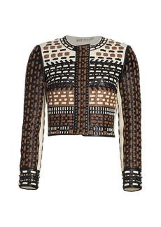 Alice + Olivia Chaya Studded Colorblock Leather Jacket