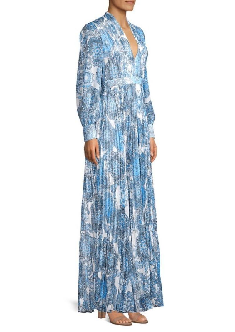 Alice + Olivia Cheney Pleated Paisley Maxi Dress