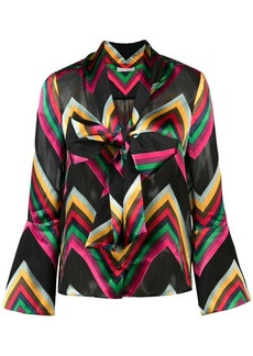 Alice + Olivia chevron stripe pussybow blouse