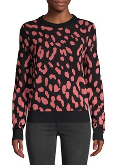 Alice + Olivia Chia Leopard Print Wool Knit Sweater