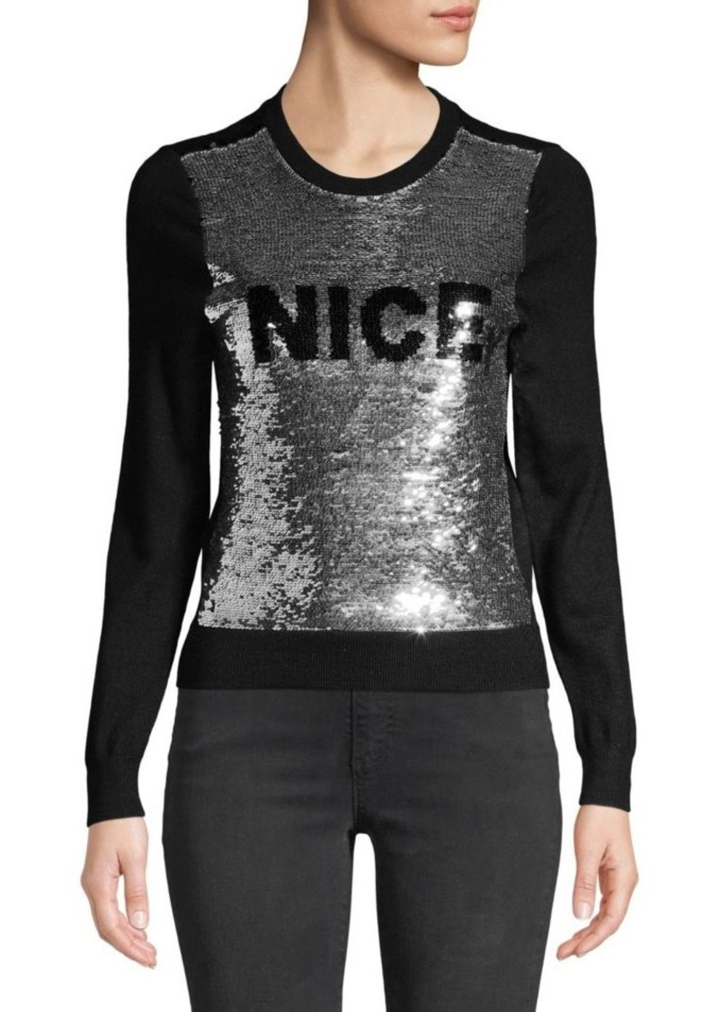 Alice + Olivia Chia Naughty & Nice Metallic Sequin Sweater