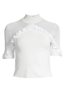 Alice + Olivia Chiara Ruffled Mockneck Top