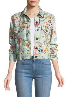 Alice + Olivia Chloe Floral-Print Cropped Denim Jacket