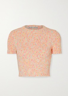 Alice + Olivia Ciara Cropped Cotton-blend Sweater