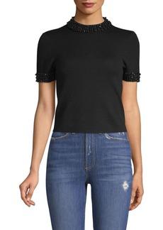 Alice + Olivia Ciara Embellished Short-Sleeve Crop Sweater