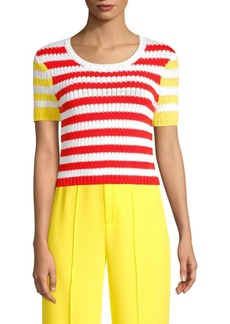 Alice + Olivia Ciara Mixed Stripe Short Sleeve Sweater